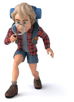 Viaggiatore con zaino e sacco a pelo di viaggio solo dell'uomo - illustrazione 3d