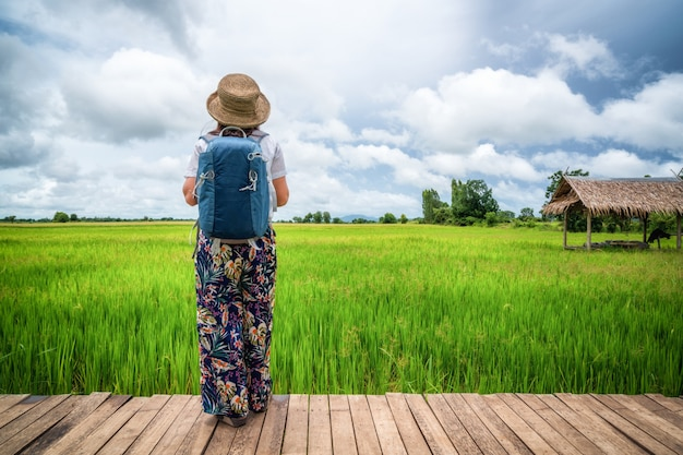 Viaggiatore della donna che fa un'escursione il paesaggio asiatico del giacimento del riso.