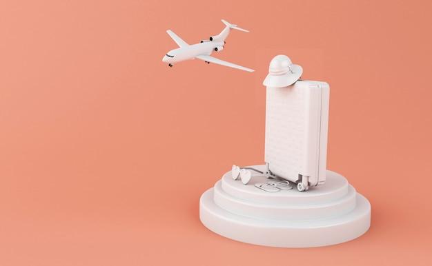 Viaggio 3d valigia e aereo. concetto di viaggio