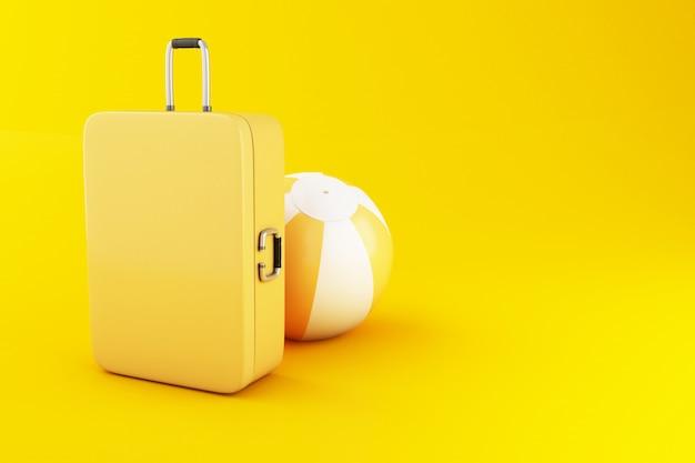 Viaggio 3d valigia e beach ball