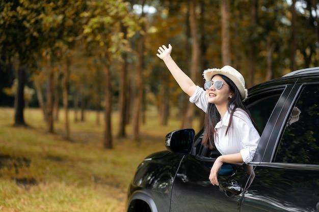 Viaggio in auto in estate, gruppo di amici maschi e femmine godendo il viaggio in auto