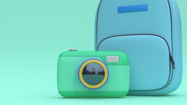 Viaggio minimo della rappresentazione 3d di verde di stile del fumetto della borsa della macchina fotografica blu 3d