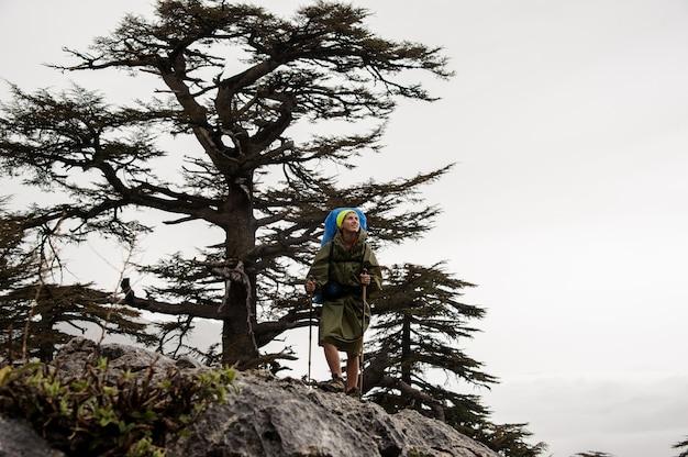 Viandante femminile in impermeabile che sta su una montagna