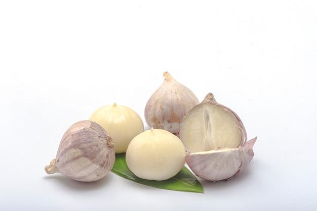 Vicino gruppo di bulbo singolo forma di aglio elefante