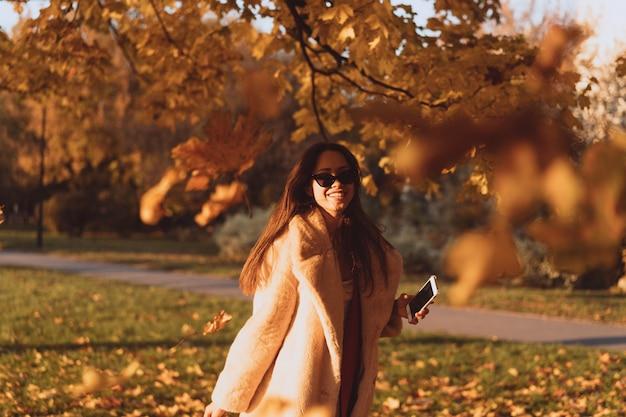 Vicolo di autunno con alberi e foglie cadute gialle.
