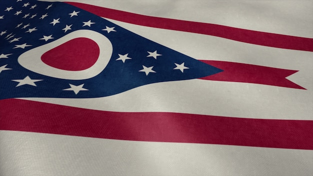 Video della bandiera dell'ohio che fluttua nel vento.