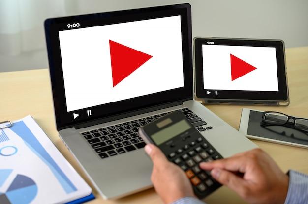 Video marketing audio video, mercato canali interattivi, business media technology innovation concetto di tecnologia di marketing