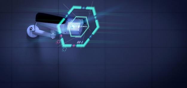 Videocamera di sicurezza che prende di mira un'intrusione rilevata - rappresentazione 3d