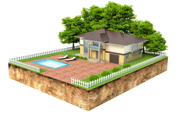 Villa con piscina su un pezzo di terra con giardino e alberi