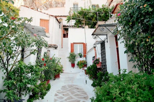 Villaggio di anafiotika sotto l'acropoli, atene grecia