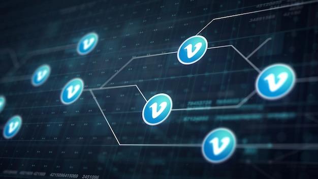 Vimeo icon line collegamento della scheda di circuito