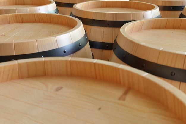 Vino dei barilotti di legno del fondo dell'illustrazione 3d. bevanda alcolica in botti di legno, come vino, cognac, rum, brandy.