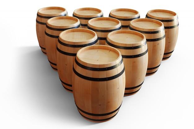 Vino dei barilotti di legno dell'illustrazione 3d isolato su fondo bianco. bevanda alcolica in botti di legno, come vino, cognac, rum, brandy.