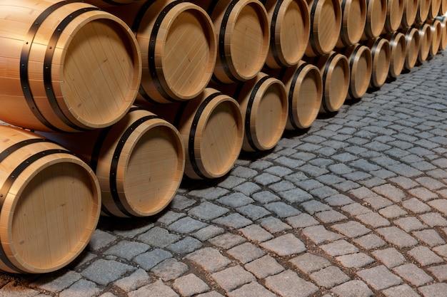 Vino delle botti di legno dell'illustrazione 3d. bevanda alcolica in botti di legno, come vino, cognac, rum, brandy.