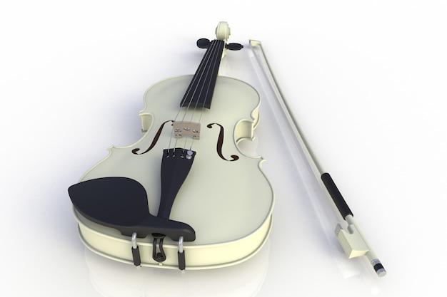Violino bianco classico con arco isolato su sfondo bianco, strumento a corde