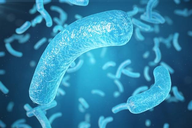 Virus dell'illustrazione 3d, batteri, organismo infettato cellula, fondo astratto del virus. virus dell'epatite nell'organismo infetto