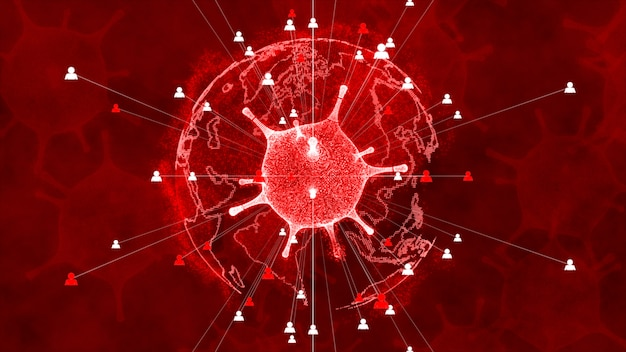 Virus, rapida moltiplicazione dei batteri sfondo di infezione.