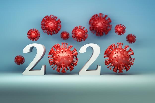 Virus rossi con 2020 anni su sfondo blu