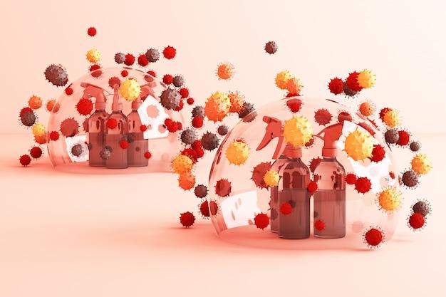 Virus viene ucciso da spray, soluzione disinfettante, spray per bottiglie che circonda da un sacco di virus colorato nel rendering 3d rosa