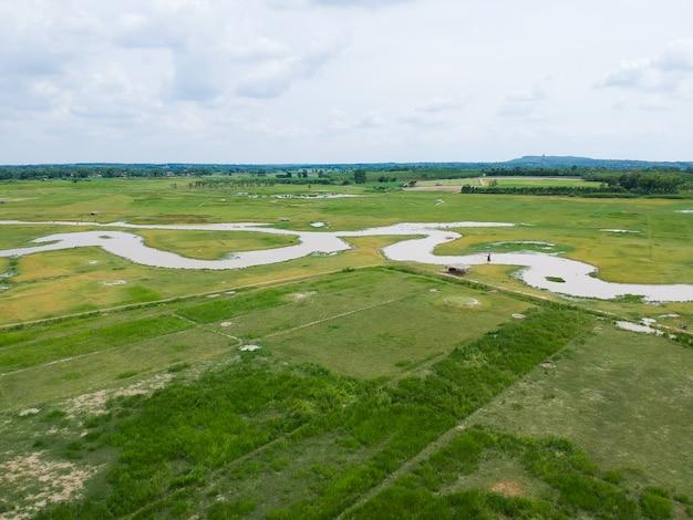 Vista aerea del drone: volando dal campo di riso della campagna in tailandia.