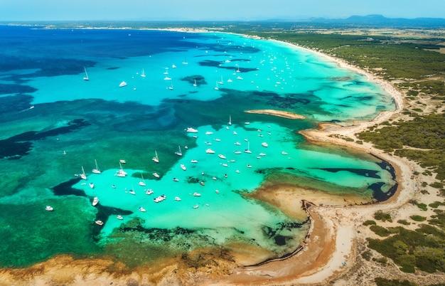 Vista aerea del mare trasparente con acqua blu, spiaggia sabbiosa, rocce, alberi verdi, yacht e barche nella mattina soleggiata di estate