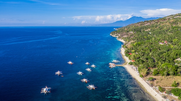 Vista aerea della baia e della costa a oslob, cebu, nelle filippine, è il posto migliore per fare snorkeling e immersioni subacquee e osservare lo squalo balena.