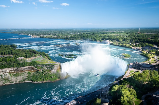 Vista aerea della cascata del niagara.