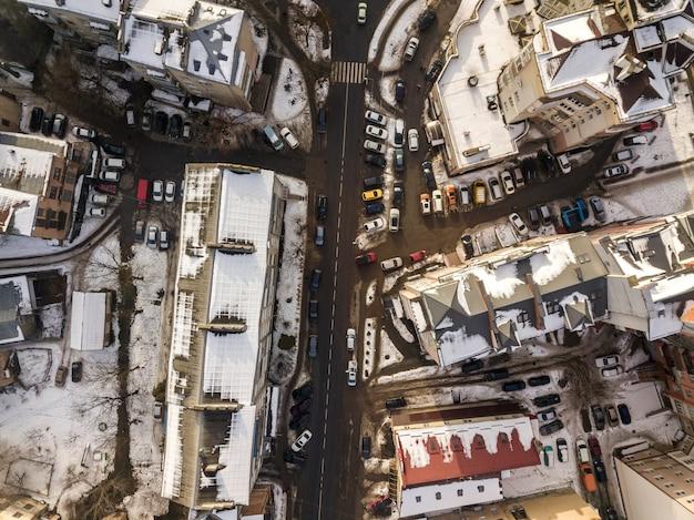 Vista aerea della città moderna con edifici alti