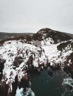 Vista aerea della natura in inverno