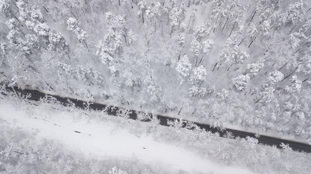 Vista aerea della strada innevata nella foresta di inverno, camion che passa vicino, mosso
