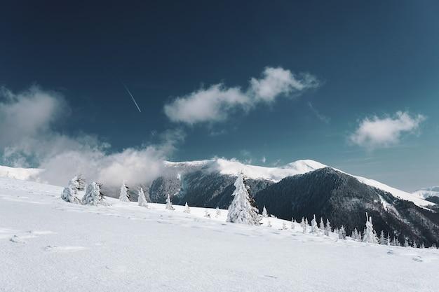 Vista affascinante delle montagne carpatiche coperte di neve in romania