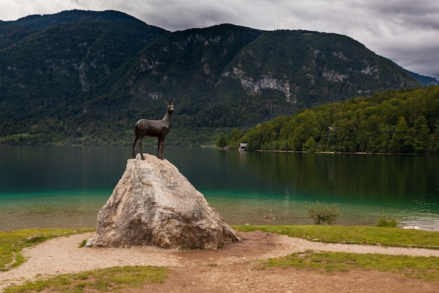 Vista alla statua bronzea di goldenhorn nel lago bohinj