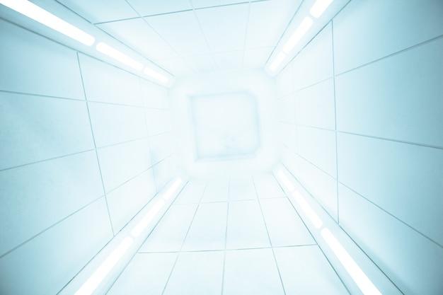 Vista centro interno di astronave con texture bianca brillante,