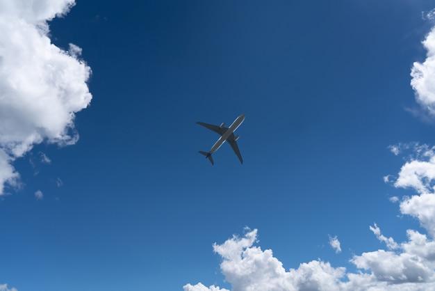 Vista dal basso di un aeroplano nel cielo