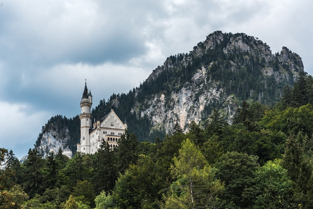 Vista dal villaggio di hohenschwangau sul castello di neuschwanstein. dietro il castello alpi bavaresi
