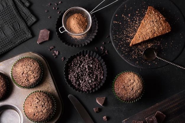 Vista dall'alto assortimento di deliziosi dessert