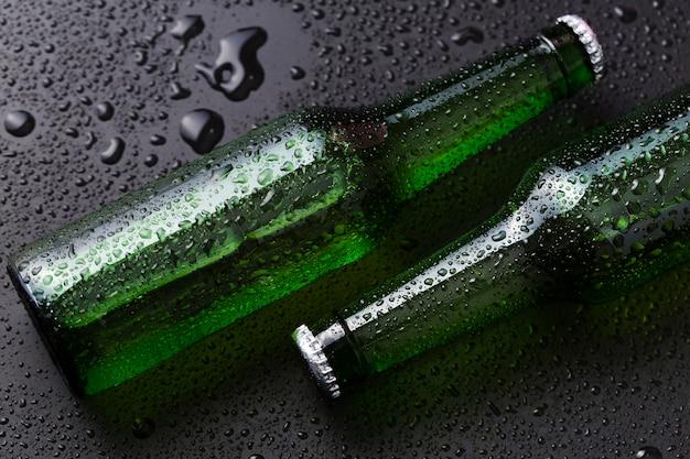 Vista dall'alto bottiglie di birra