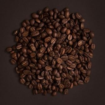 Vista dall'alto chicchi di caffè