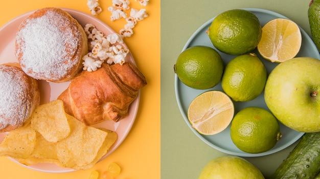 Vista dall'alto cibo malsano e frutta