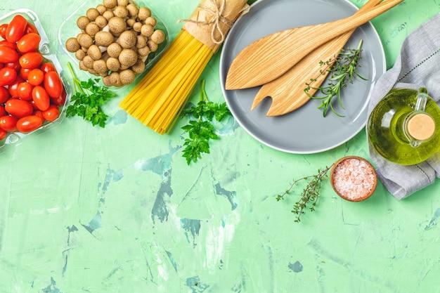 Vista dall'alto, concetto di cibo sano, vista dall'alto, copia spazio