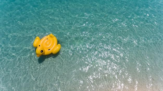 Vista dall'alto dal cielo di anatra salvagente nuoto.