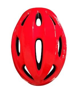 Vista dall'alto del casco rosso per bicicletta