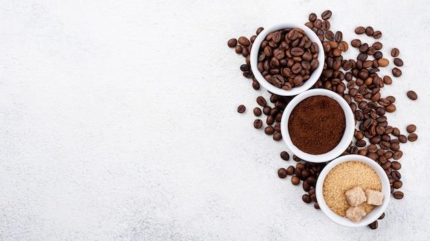 Vista dall'alto del concetto di caffè con spazio di copia