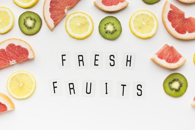 Vista dall'alto del concetto di frutta fresca