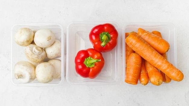 Vista dall'alto del concetto di verdure