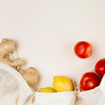 Vista dall'alto del concetto di zero rifiuti alimentari