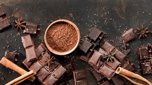 Vista dall'alto del delizioso concetto di cioccolato