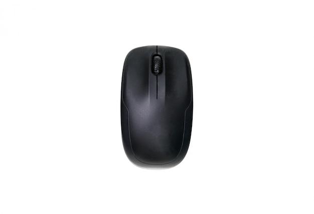 Vista dall'alto del mouse del computer nero isolato su uno sfondo bianco.