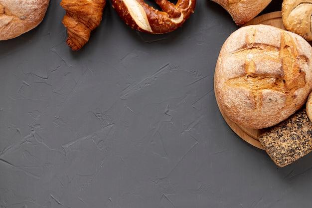 Vista dall'alto deliziosa cornice di pane
