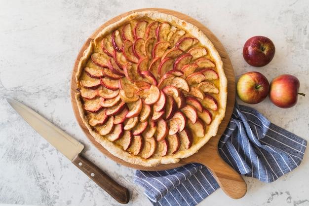 Vista dall'alto deliziosa torta di mele
